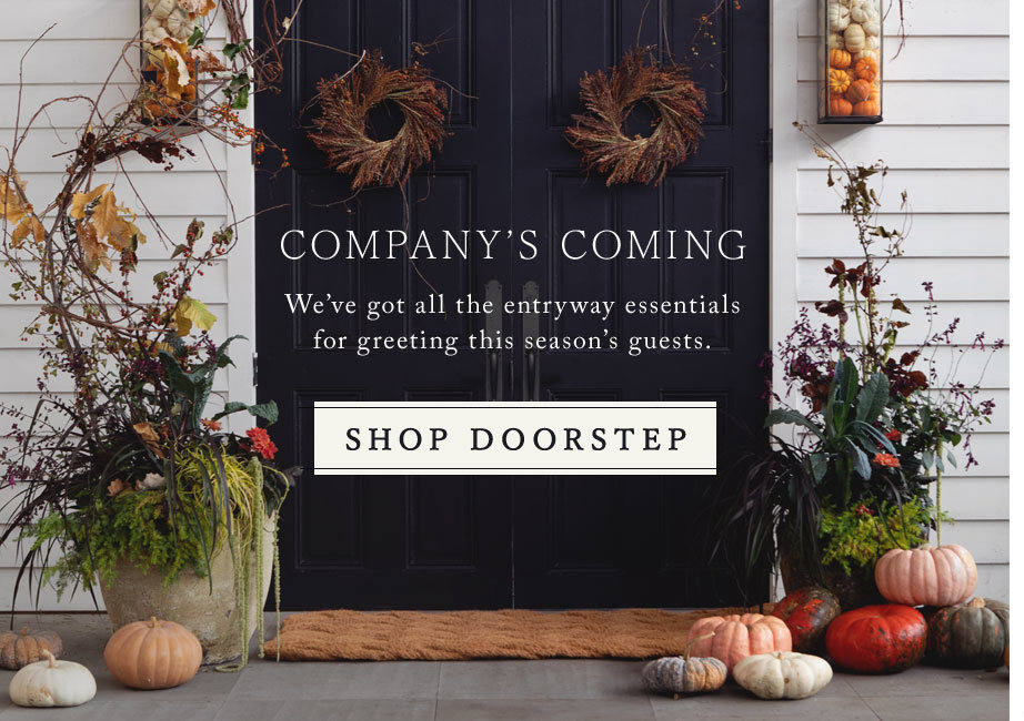Fall Doorstep Essentials | Iron lanterns, wild wreaths, durable containers, and our Knot Weave Doormat—your must-haves for the autumn doorstep.